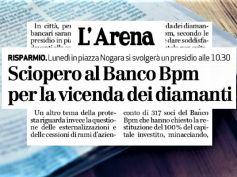 L'Arena, Banco Bpm sciopera per caso diamanti e contro esternalizzazioni