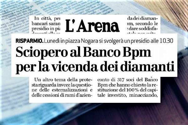 Banco Bpm, diamanti, dipendenti e clienti manifestano insieme in tre regioni
