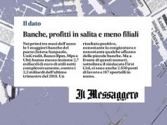 Il Messaggero, First Cisl trimestrali banche, profitti in salita e meno filiali