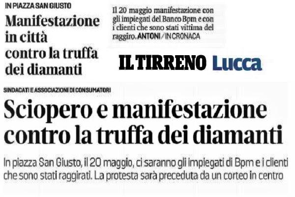 La truffa diamanti mette in sciopero i dipendenti di Banco Bpm della Toscana e di La Spezia.
