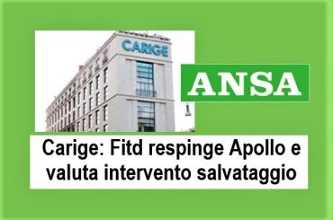 Ansa, no Fitd ad Apollo, Colombani, salvataggio Carige come da noi auspicato