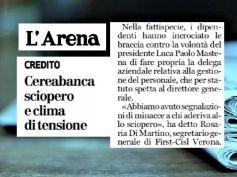 L'Arena, First Cisl, pressioni sui lavoratori di CereaBanca in sciopero
