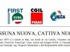 Banca Popolare di Bari, i sindacati esprimono preoccupazione e sfiducia