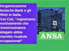 Ansa su Deutsche Bank, First Cisl, riorganizzazione senza esuberi in Italia