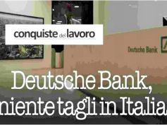 Conquiste del Lavoro su Deutsche Bank, no tagli in Italia, ok per First Cisl