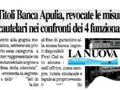 Titoli ex Banca Apulia, per gip buona fede funzionari, sostegno di First Cisl