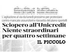 Unicredit, a Trieste scatta la protesta, no straordinari per quattro settimane