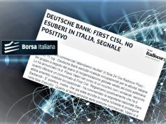 Borsa Italiana, First Cisl no esuberi in Deutsche Bank ma vigili su commerciale