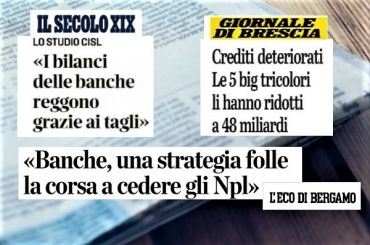 Studio First Cisl banche, Colombani, va interrotta frenesia cessione Utp