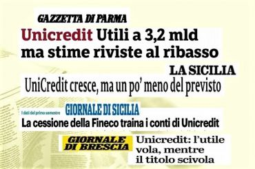 Semestrale UniCredit, l'interesse dei giornali e la posizione di First Cisl
