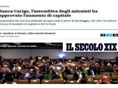 Soci salvano Carige, Il Secolo XIX rilancia la posizione di First Cisl