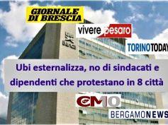 Ubi Banca esternalizza e la protesta dilaga, in piazza sindacati e dipendenti