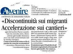 Annamaria Furlan su Avvenire, discontinuità su migranti e accelerare i cantieri