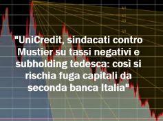 Ipotesi tassi negativi in UniCredit, sindacati critici, l'interesse della rete