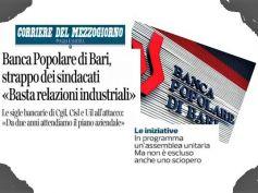 Banca Popolare di Bari, sindacati, senza piano industriale stop a relazioni