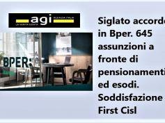 Agi, First Cisl, in Bper accordo positivo con assunzioni al top del settore