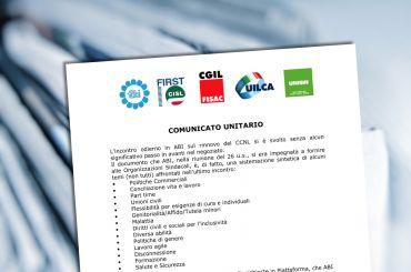 Rinnovo contratto, comunicato unitario riguardo l'incontro odierno con Abi