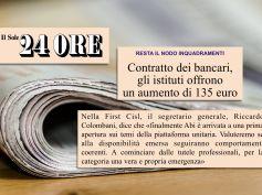 Il Sole 24 Ore, Ccnl banche, Colombani, apertura positiva, ora servono i fatti