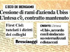 Cessione Ubis, First Cisl, contratto mantenuto, intesa Ubi tutela lavoratori