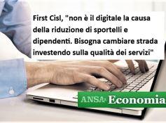 Ansa, studio First Cisl, digitale non riduce sportelli e dipendenti