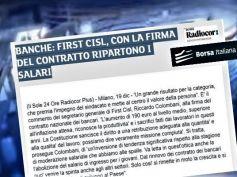 Borsa Italiana, First Cisl, con firma contratto ripartono salari lavoratori