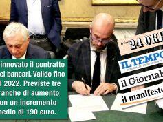 I giornali sul contratto dei bancari, firmato il rinnovo, aumentano i salari