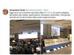 Consiglio generale di First Cisl, tweet di Annamaria Furlan saluta i lavori