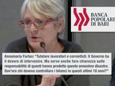 Popolare Bari, tweet di Annamaria Furlan, fare chiarezza su responsabilità