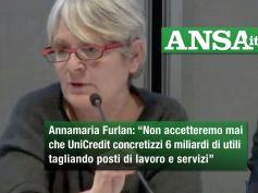 Ansa, Furlan, non accetteremo mai esuberi e tagli servizi di UniCredit