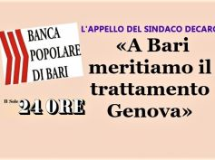 Popolare di Bari, First Cisl, agire come per Carige, preoccupato il territorio