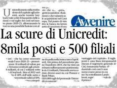 Avvenire, scure Unicredit su Italia, Cisl e First Cisl, tagli irresponsabili