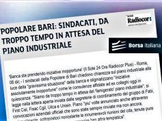 Sindacati ancora in attesa del piano industriale di Banca Popolare di Bari