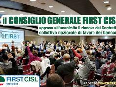 Contratto bancari, via libera del Consiglio generale First Cisl