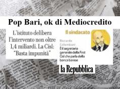 Repubblica, First Cisl, lavoratori non devono subire effetti gestione PopBari