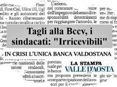 La Stampa, tagli irricevibili in Bcc Valdostana, sacrifici solo per dipendenti