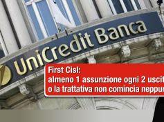 UniCredit, First Cisl, toni più dialoganti, assunzioni fondamentali
