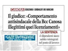 Bcc Canosa Loconia, illegittimi licenziamenti per comportamento antisindacale