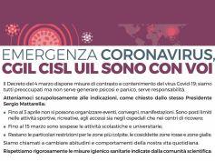 Emergenza Coronavirus, Cgil Cisl Uil sono con voi