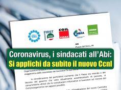 Coronavirus, i sindacati all'Abi, si applichi da subito il nuovo Ccnl