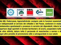 Coronavirus, sindacati a Abi, Federcasse, AdeR, solo servizi essenziali!