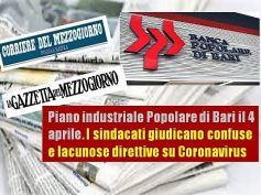 Popolare Bari, cresce la tensione, emergenza Covid incrocia piano industriale