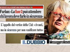Annamaria Furlan, lavorare sicuri per non vanificare sforzi degli italiani
