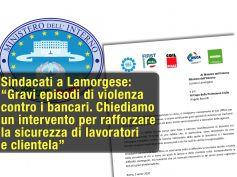 Lettera dei sindacati a Lamorgese, gravi episodi di violenza contro i bancari