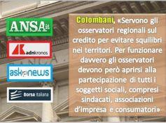 Considerazioni finali Visco, Colombani, necessari osservatori regionali sul credito