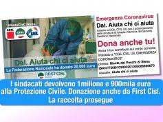 Coronavirus, prosegue raccolta fondi sindacati, gesto tangibile anche da First Cisl