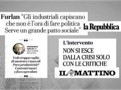 La Repubblica e Il Mattino, Furlan agli industriali, non è l'ora di fare politica