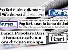 Colombani sui giornali, PopBari salva ma governo finisca lavoro iniziato a dicembre
