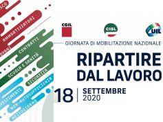 Il 18 settembre 2020 la Giornata di mobilitazione nazionale Cgil Cisl Uil