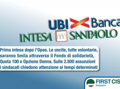 Intesa-Ubi, accordo su assunzioni e esuberi. First Cisl, tutelati tutti i lavoratori