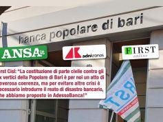 PopBari, First Cisl parte civile, doveroso accertare verità a tutela dei lavoratori
